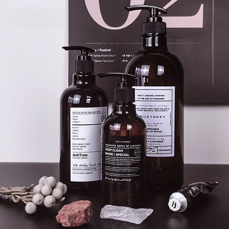 250/500ml Nordic Stil Braun Bad Nachfüllbare Flasche Dusche Gel Shampoo Presse Flasche Dusche Gel Nachfüllbare Bad Lagerung flaschen