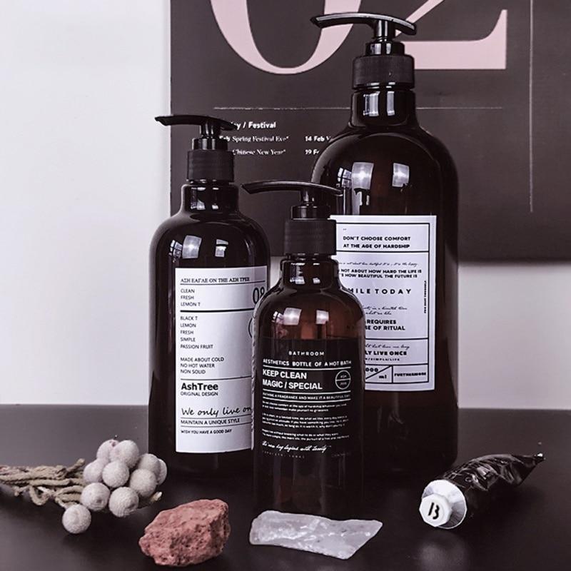 250/500ml Nordic Style Brown Bath Refillable Bottle Shower Gel Shampoo Press Bottle Shower Gel Refillable Bath Storage Bottles
