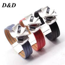 D&D Charm Crystal Alloy Leather Bracelet for Women Femme Fashion Cool Clasp Wristband Cuff Bracelet Wedding Jewelry(China)