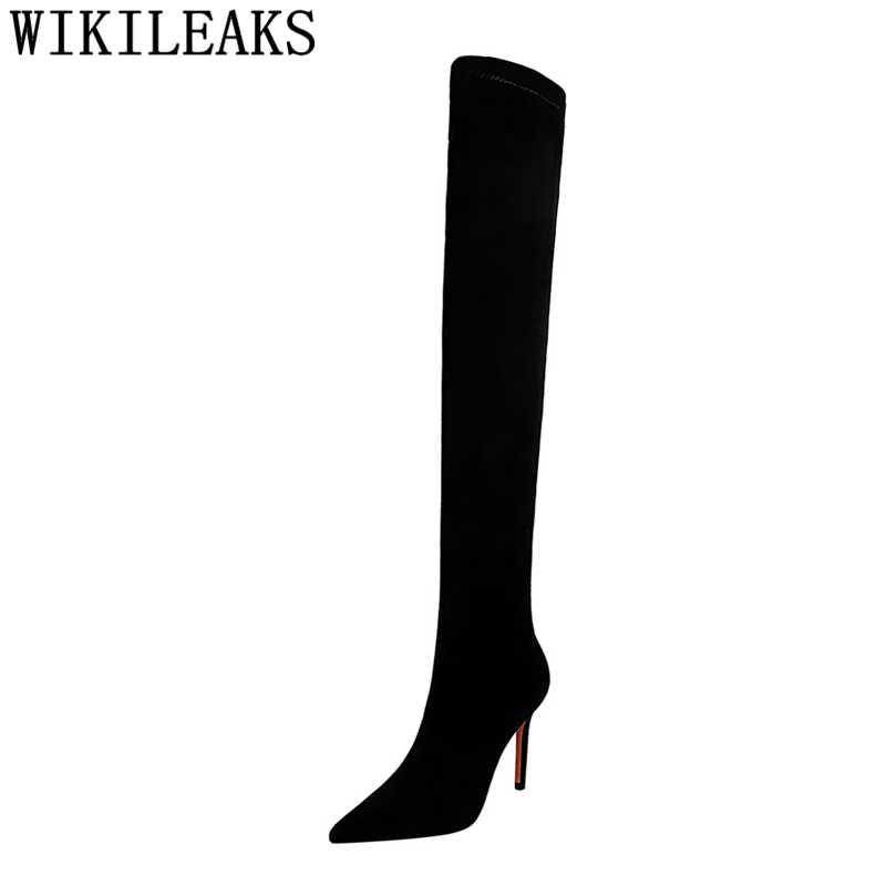 Dij Hoge Laarzen Zwarte Laarzen Sexy Laarzen Vrouwen Schoenen Winter Vrouwelijke Schoenen Mode Cuissardes Sexy Talons Hauts Sexy Hautes Socofy