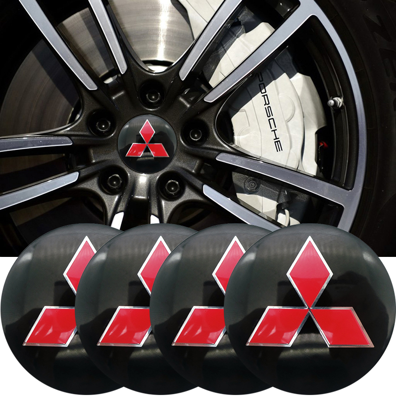 Car-styling 4pcs 56mm Car Tire Wheel Center Hub Caps Decorative Sticker For Mitsubishi Asx Lancer Pajero 4 Outlander 3 Xl L200