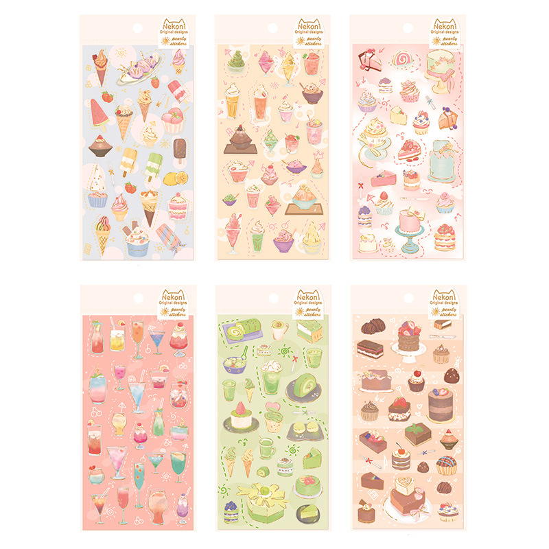 Ice Cream Dessert Cake Gilding Journal Decorative Stickers Scrapbooking Mobile Phone Stickers Stationery DIY Album Stickers