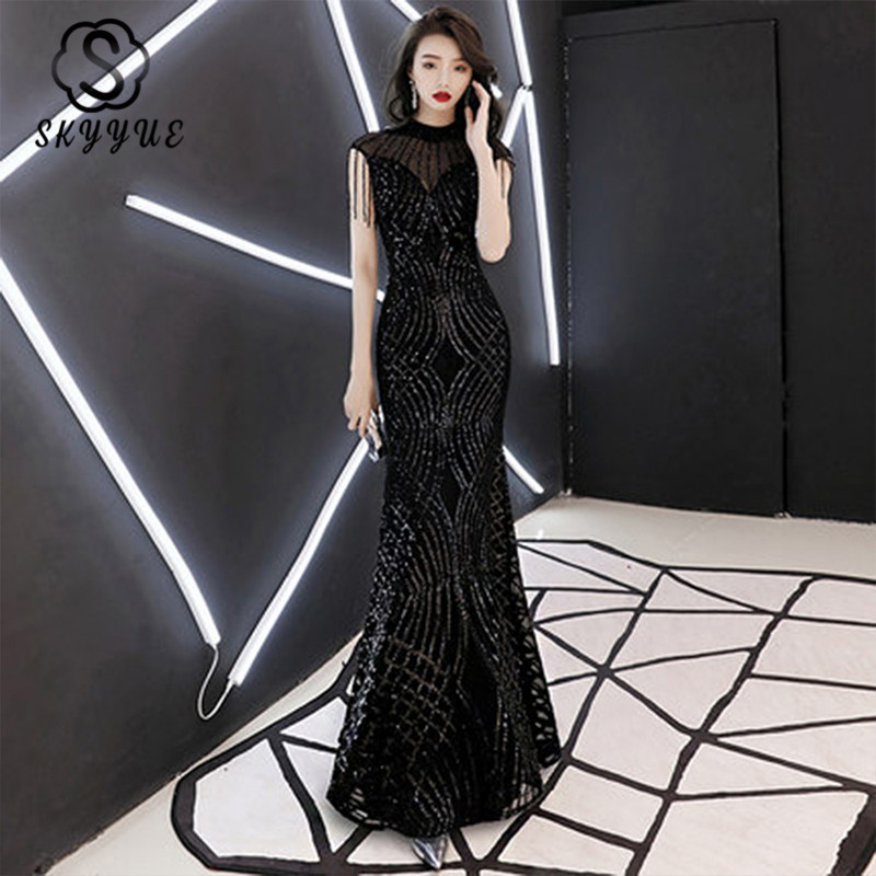 Skyyue Evening Dress 2019 O-neck Sequin Women Party Dresses Black Zipper Robe De Soiree Sleeveless Tassel Formal Gowns F006