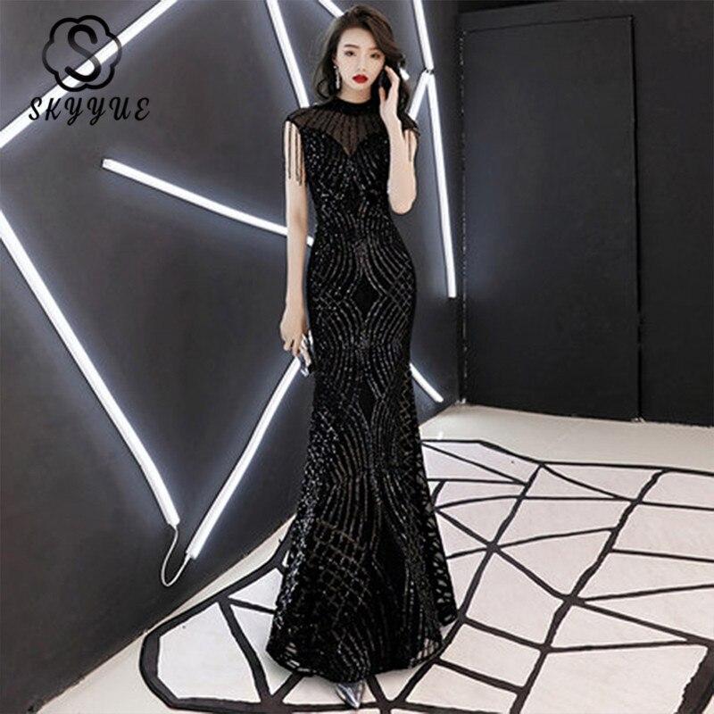 Skyyue robe De soirée 2019 o-cou Sequin femmes robes De soirée noir robe à glissière De soirée sans manches gland robes formelles F006