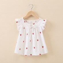 Детская рубашка с изображением клубники, летнее платье, Корейская новая детская куртка с принтом для девочек