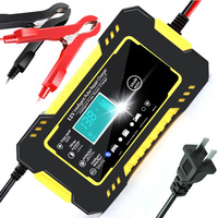 Cargador de batería para coche, 12V, 6A, pantalla táctil, reparación de pulsos, LCD, carga rápida, húmedo, seco, ácido de plomo, pantalla LCD Digital