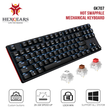 HEXGEARS GK707 87 คีย์ Gamer คีย์บอร์ด Kailh Switch BOX Hot Swap Anti Ghosting สีขาว LOL เกมคีย์บอร์ดสำหรับ PC /Mac/Lap