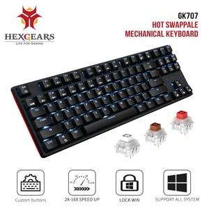 Hexgeards GK707 87 ключ геймер механическая клавиатура Kailh коробка переключатель горячей замены анти ореолы белый геймерский коврик для мыши Клави...