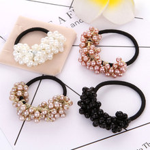 10pcs candy elastic pearl ponytail holder hair ties for girls tight elastic rubber rope bands for thick adult hair accessories Fashion Scrunchies Pearl Hair Rubber Hair Accessories For Women Girls Elastic Beading Hair Rope Tie Hair Bands Holder hair ties