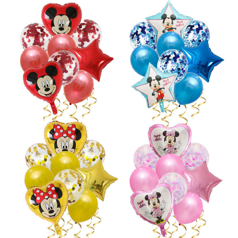 9 Pcs Mickey Ster Minnie Hart Muis Ballon Verjaardagsfeestje Decoraties Ballon Baby Shower Folie Ballonnen Cartoon Kids Speelgoed Globos