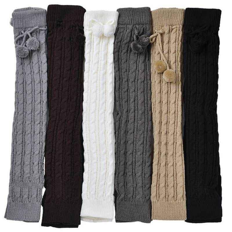 Женские зимние вязаные гетры с плетеным плетением для девочек; однотонные вязаные теплые сапоги; носки с манжетами и помпон