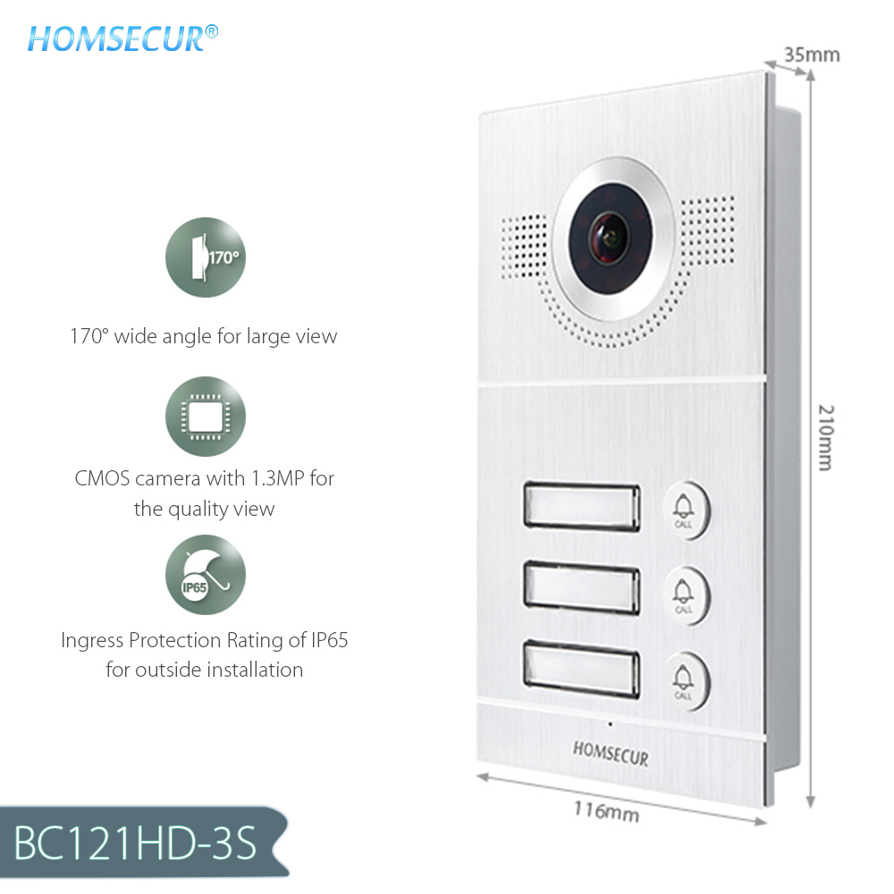 HOMSECUR BC121HD-3 Outdoor Camera For 3-Apartment Video&Audio Smart Doorbell (Only Works With HDK Series Indoor Monitor)