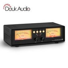 Douk Audio 4 IN 1 OUT MIC+Line Analog Dual VU Meter DB Panel Retro Sound Level Indicator Audio Splitter Switcher Box