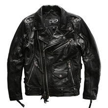 european big size high quality super genuine cow skin leather motor rider jacket mens big size casual cowhide leather jacket(China)