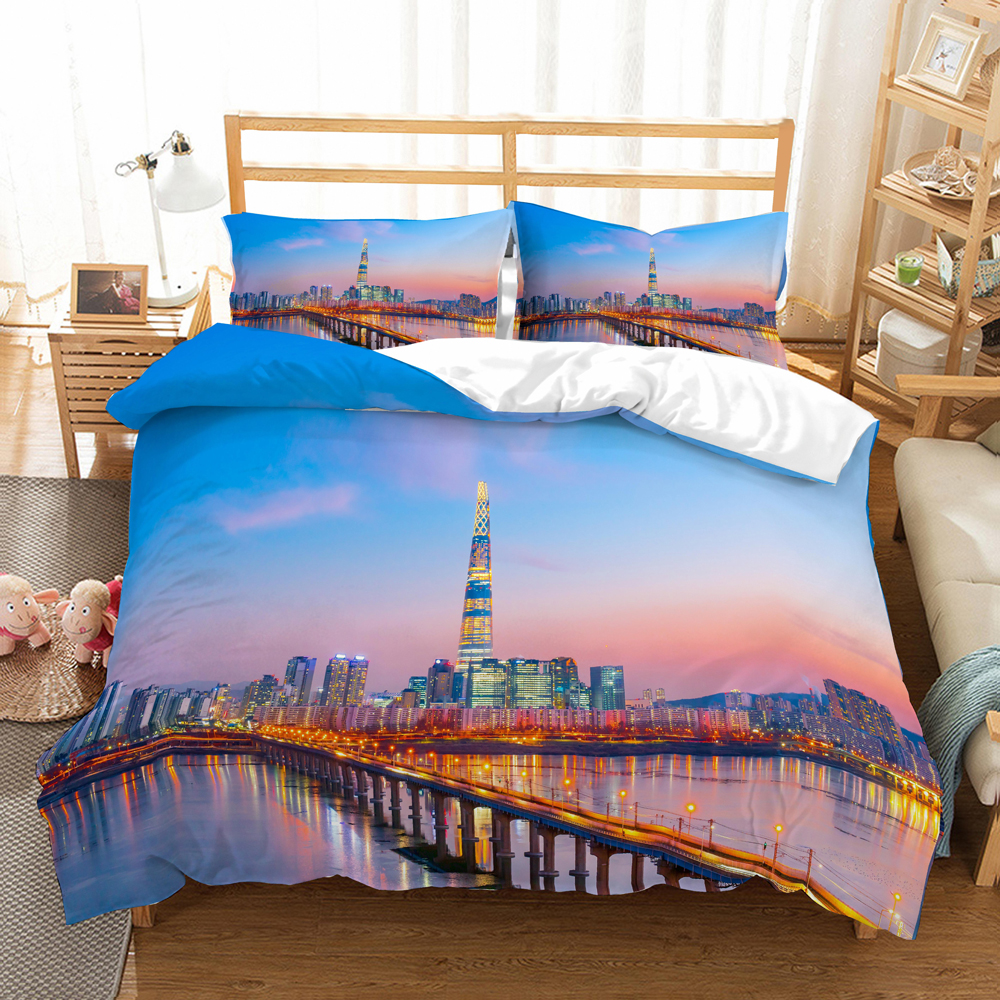 Seoul City Scenery Bedding Set Bedroom Decor Shining Background 100% Microfiber Soft 1PC Duvet Cover With Pillowcases