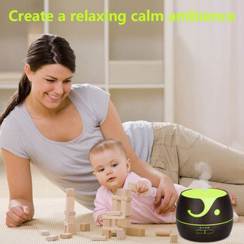 400ml Aroma Essential Oil Diffuser Grain Ultrasonic Cool Mist Humidifier With 7 Color Lights 4 Timer Settings For LED dark Wood