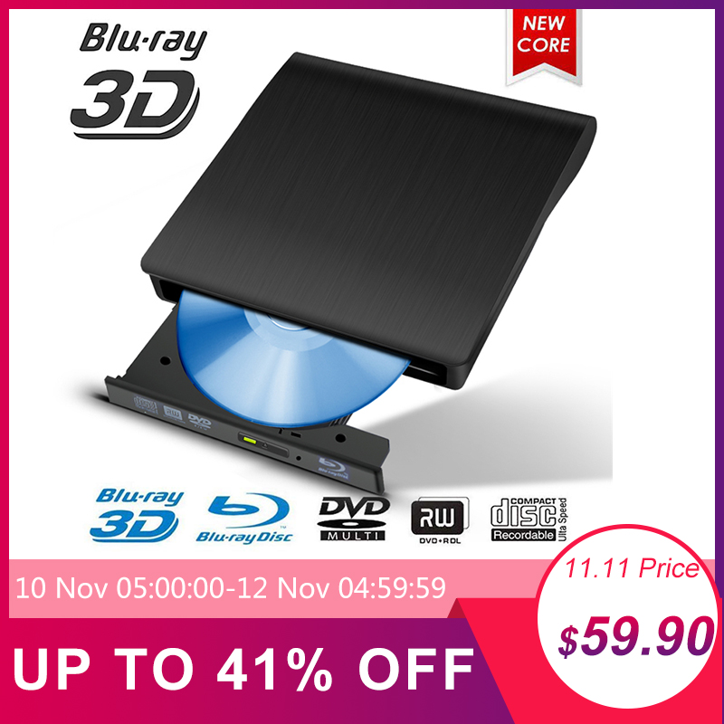 Brushed material External Blu-ray Drive Combo USB 3.0 3D Disc Player & DVD/CD-RW Burner For PC Optical