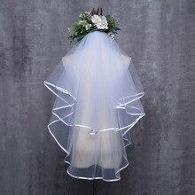 Voile de mariage pas cher deux couches de haute qualité avec peigne Simple Tulle blanc
