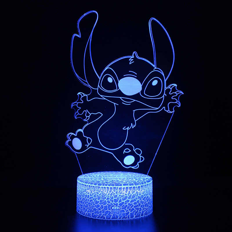 Cartoon Action Figure Stitch Model 3D LED Lamp Kids Bedroom Decoration Stitch Lights With Remote Control For Kids Christmas Gift