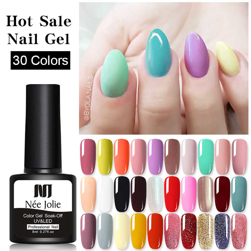 Nee Jolie 8 Ml Uv Gel Nail Polish Glitter Rose Merah Rendam Off Pernis Pernis Glitter Nail Art LED Gel cat Kuku Desain