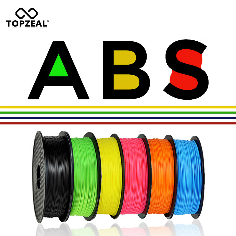 TOPZEAL 3D Printer ABS Filament 1.75mm Dimensional Accuracy +/-0.02mm 1KG 343M 2.2LBS 3D Printing Material Plastic For RepRap