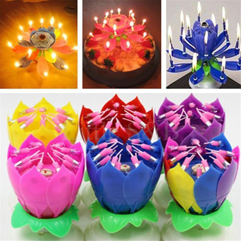 Outdoor Candlelight Cake Candle Light Lotus Flower Music Candles Christmas Festival Wedding Party DIY Cake Decoration Kids Gift-Blue