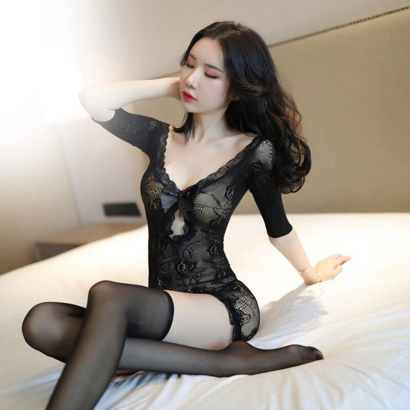 Women Sexy Lingerie Open Crotch Erotic Underwear Babydoll Fishnet Sleepwear Sex Costumes Lenceria Erotica With Sock Lingerie