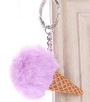 Bonito verão sorvete chaveiro de pele do falso pom pom pom chaveiro para as mulheres saco de carro pingente chaveiro jóias crianças presente porte cef