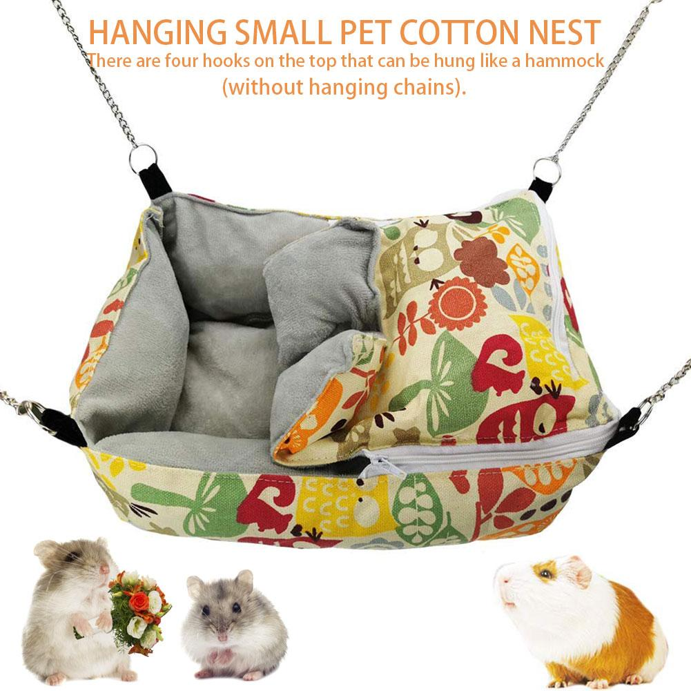 Winter Warm <font><b>Guinea</b></font> <font><b>Pig</b></font> Rabbit Hedgehog Living Nest <font><b>Plush</b></font> Cotton Squirrel Hammock Hamster Hanging Cave Bed For Cage Accessories image