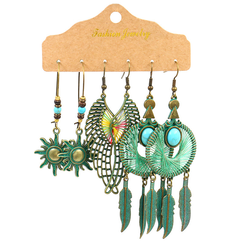 Bohemia Ethnic Long Tassel Bronze Dangling Drop Earrings Vintage Big Round Earrings Set for Women Geometry Statement Jewelry