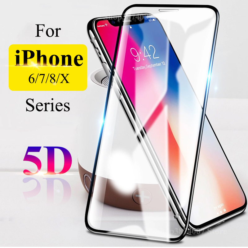 2pcs 5D Protective Glass On The For iPhone 6 s 6s s6 7 8 Plus X Aphone Tremp Glas iPhone Screen Protector Tempered Aifon Film 9H
