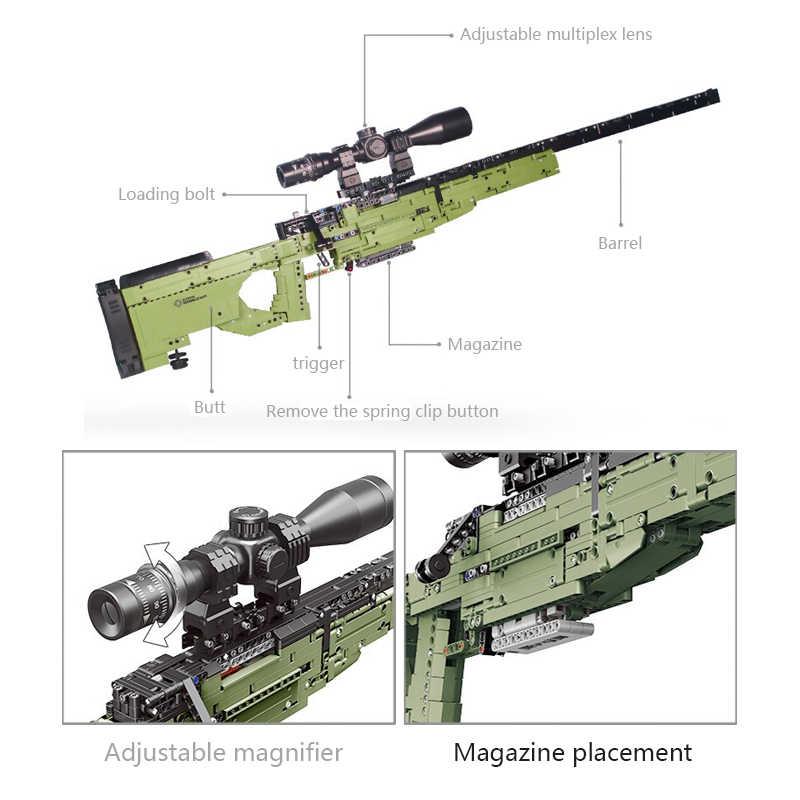 1491PCS Bausteine SWAT Technik Military WW2 Waffe AWM Sniper Modelle Pistole PISTOLE Ziegel Spielzeug für Kinder Jungen