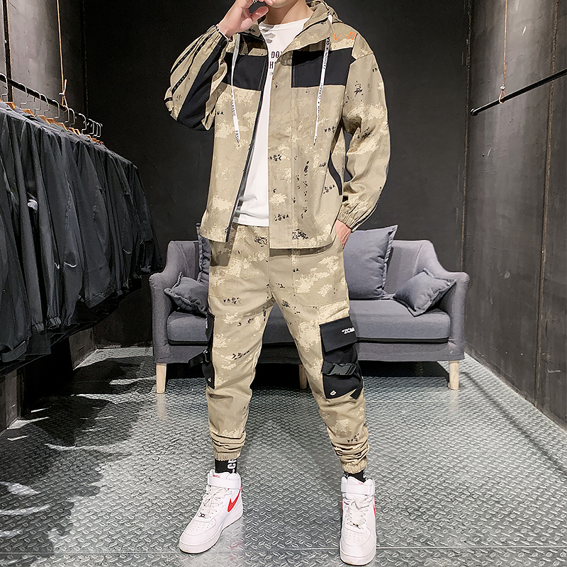 Men Fashion Camouflage Jackets With Pants Hoodies Plain Tracksuit Printed Hip Hop Jogging Homme Men Set Fashion Winter HH50TZ