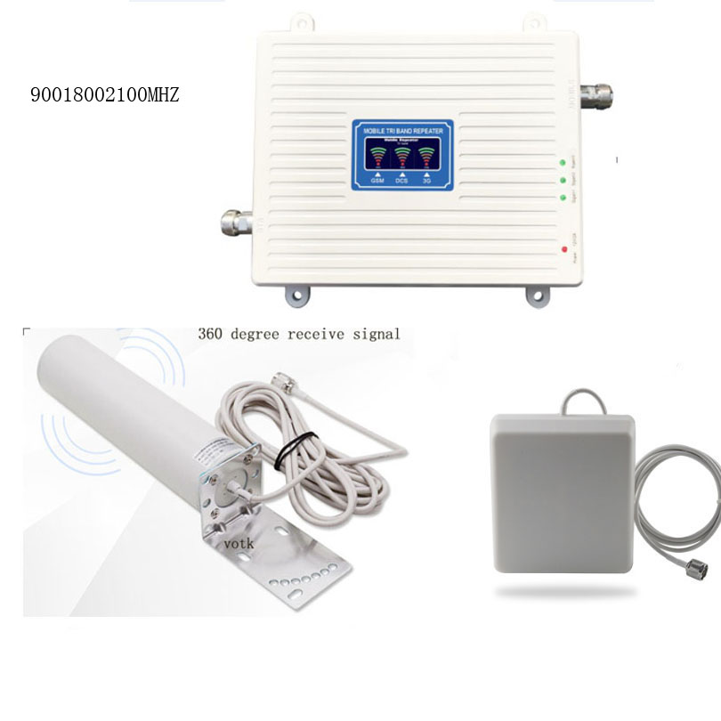 Tri band Signal Booster 2G <font><b>GSM</b></font> <font><b>3G</b></font> UMTS <font><b>4G</b></font> <font><b>LTE</b></font> Mobile signal Repeater network amplifier with Omini outdoor antenna image