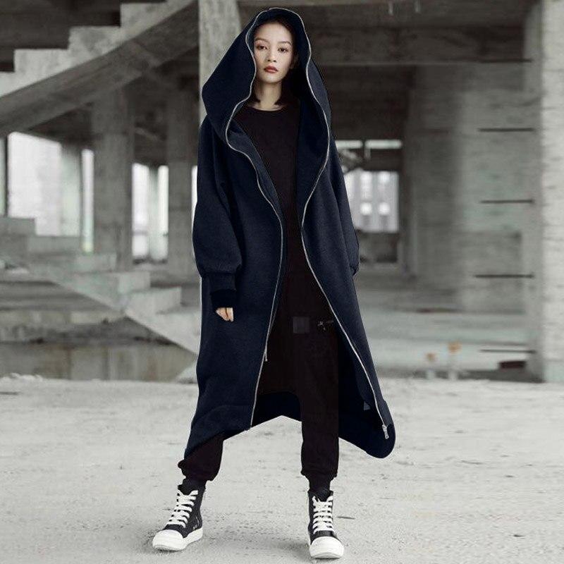 H69eb26d853e54cf49d4dd52fc4e031a8G 2019 ZANZEA Winter Hoodies Sweatshirt Women Hooded Zip Long Sleeve Fleece Irregular Boyfriend Pockets Long Coat Jacket Plus Size