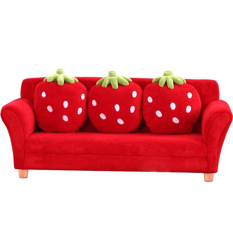 Belt Pillow Kindergarten Baby Small Sofa Semi-closed Lovely Strawberry Fabric Kids Sofa Zitzak Bean Bag Red Three Seat