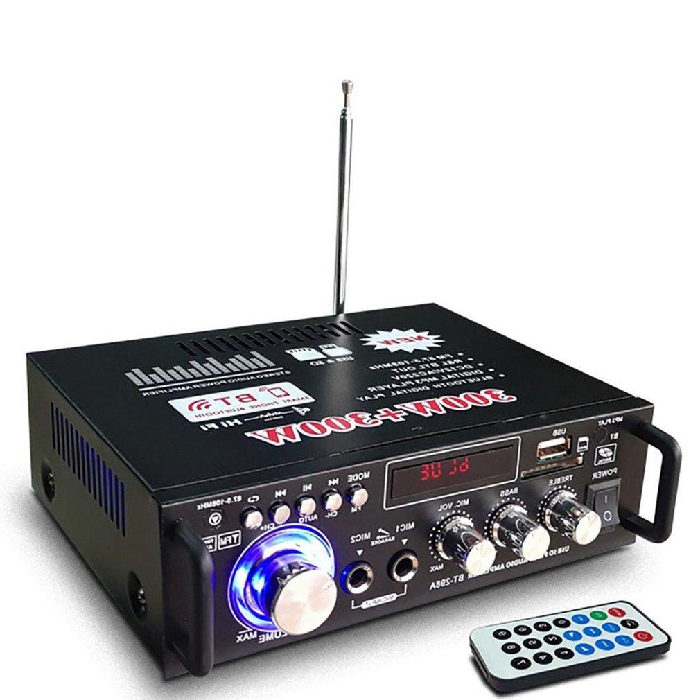 12V/ 220V BT-298A 2CH LCD Display Digital HIFI Audio Stereo Power Amplifier Bluetooth FM Radio Car Home  With Remote Control