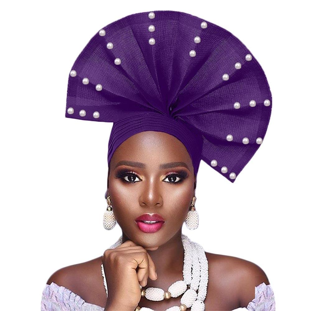 Free Shipping African Head Wraps Auto Gele Headtie Aso Oke Fan Headtie