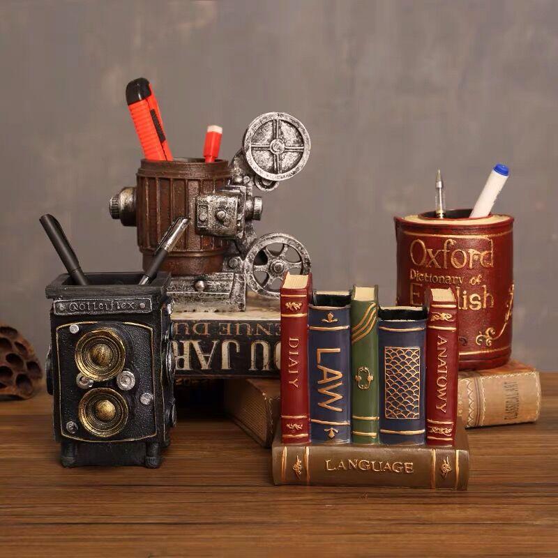 Sharkbang Vintage Bookends Type Resin Pen Holder Desk Organizer Storage Holder Display Ornament School Stationery Gift