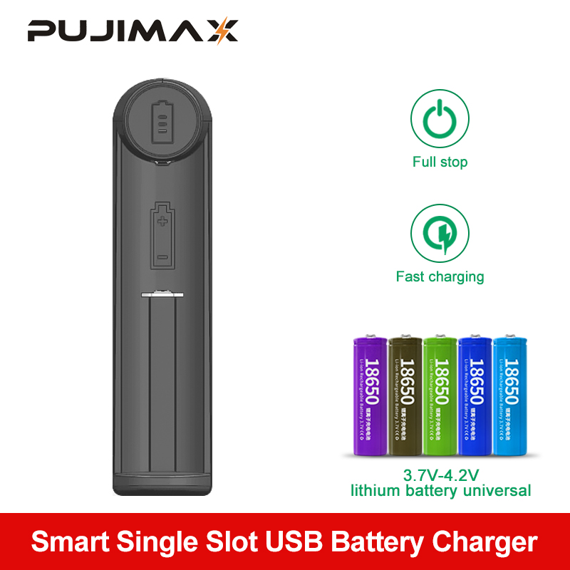 PUJIMAX Smart Charging 18650 Battery Charger For 26650 18350 18490 14500 26700 26500 Li-ion Rechargeable Battery Charger