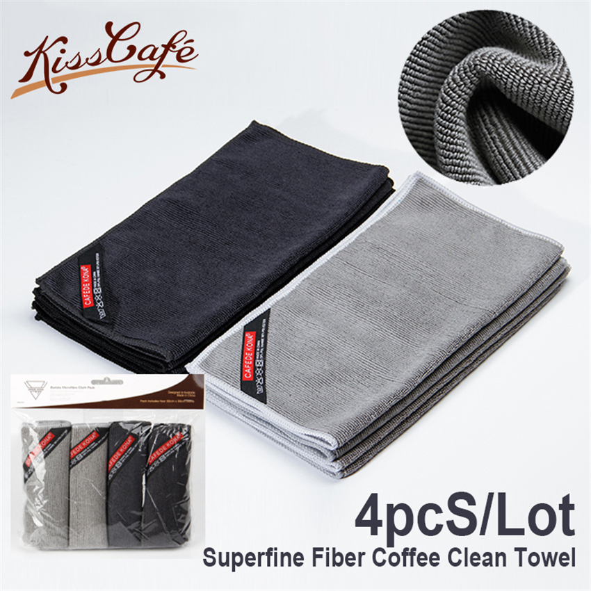 4pc/lot Superfine Fiber Coffee Clean Towel High Fiber Towels For Cafe Shop Match Special Kitchen Scarf 30X30 Coffee Tools(China)