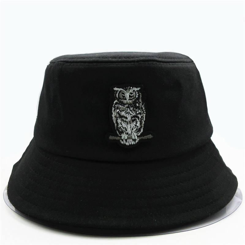 2020 New Style Owl Animal  Embroidery  Bucket Hat Fisherman Hat Outdoor Travel Hat Sun Cap Hats For Men And Women 169
