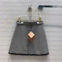 High end Design Women Mini Skirt 2020 Autumn New Fashion Sweet Wind Wavy Ribbon Lace A line Zipper High Waist Plaid Short Skirts