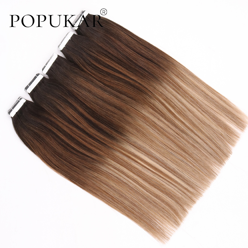 Popukar New Arrival 50g Tape Extensions Human Hair 14inch 20inch Ombre Blonde Seamless Tape On Hair