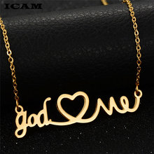 ICAM New Arrival Stainless Steel Choker Necklace Jewelry God Love Me Heart Pendant Silver Chain Gold Necklace Gothic Chokers(China)