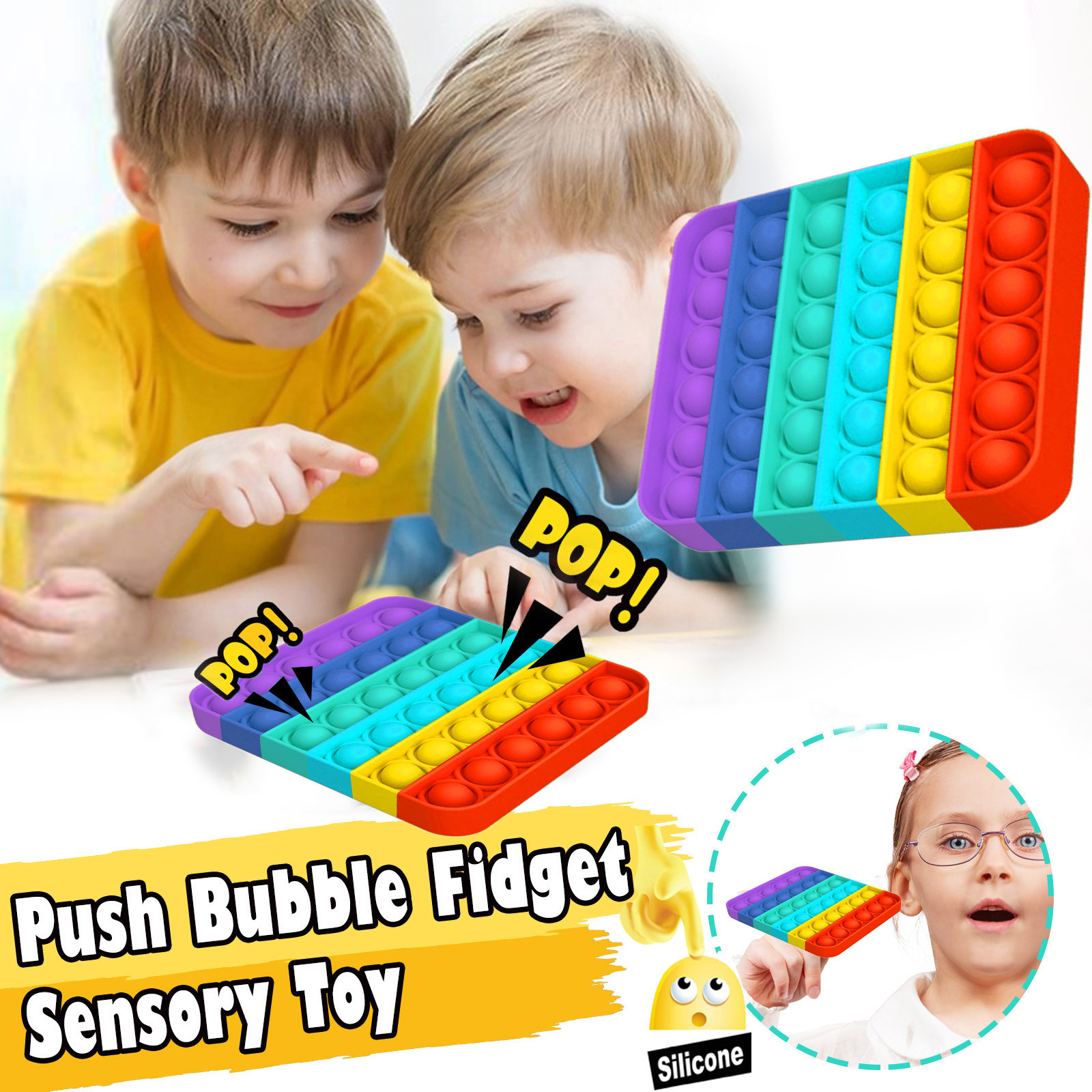 Fidget-Sensory-Toy Game-Stress Bubble Pops Squishy-Pops Special Needs Rainbow-Push Autisim img3