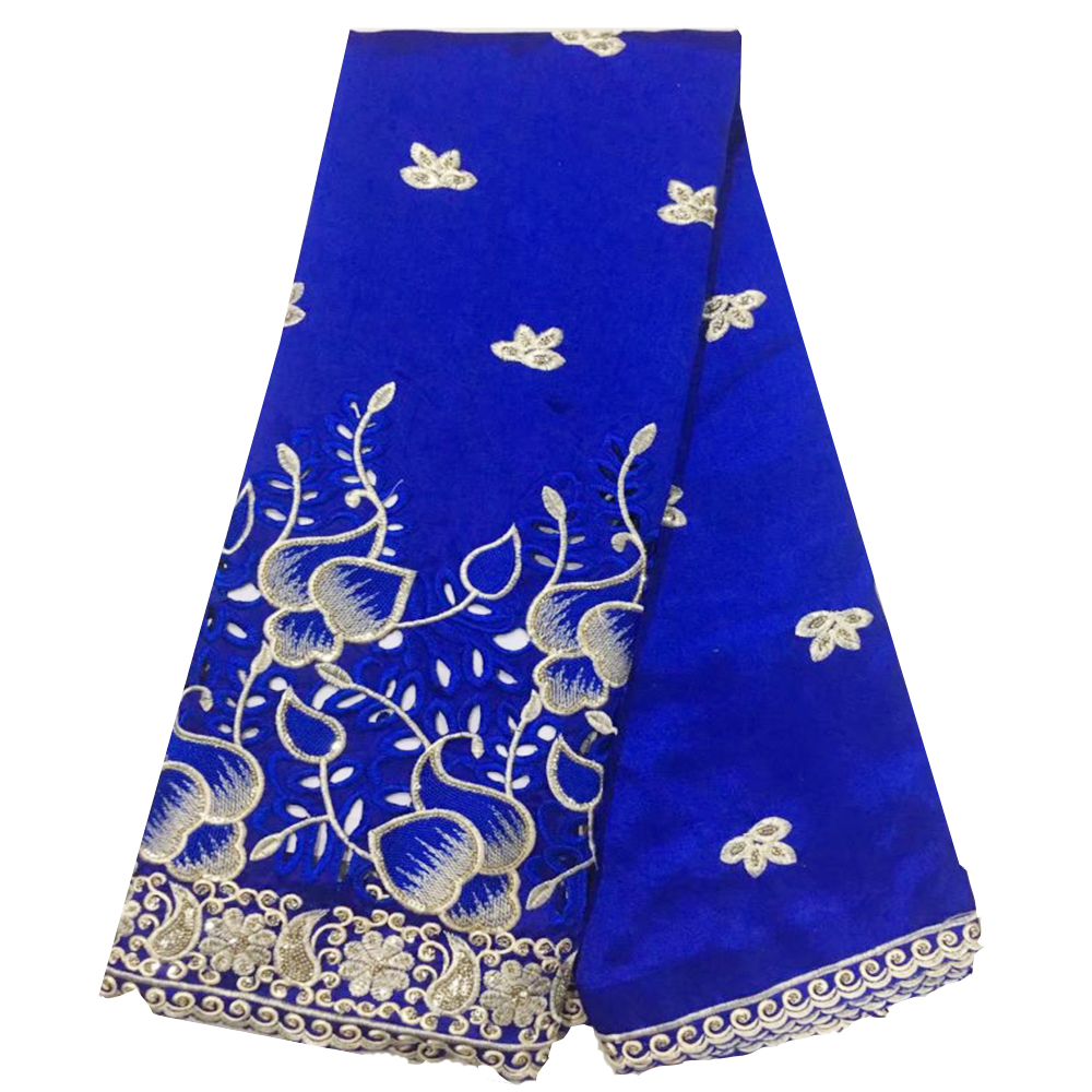 Blue Silk Indian Gorge Fabric With Sequins Embroidery African Gorge Lace Fabrics For Wedding Black Women 5yrd High Quality