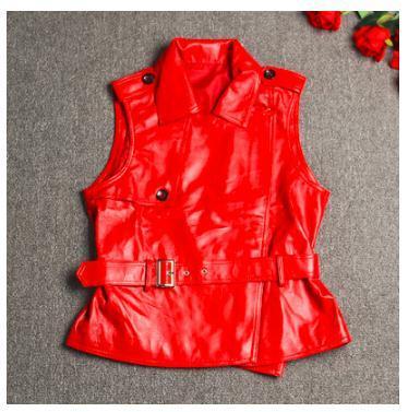 Free Shipping,Brand New Style Women Leather Vest.sales.fashion Slim 100% Sheepskin Leather Jacket.short Soft Motor Jacket.vest