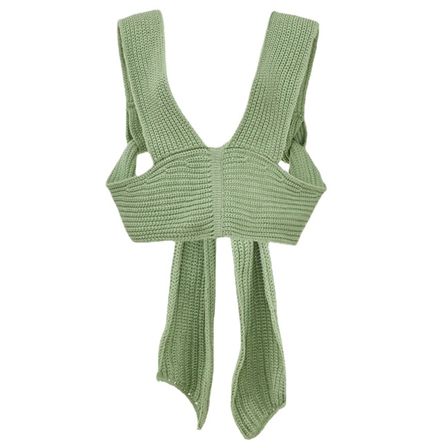 [DEAT] irregular collar solid wool sleeveless bandage top with belt women sexy style mall gothe y2k clothes 2021 summer GX428 5