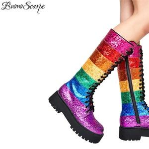 Image 5 - Buono Scarpe Bling Bling Women Mid Calf Boots Women Rainbow Sequined Botas Fenimina Cross Tied Platform Ladies Shoes 2019 New
